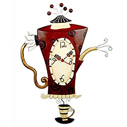 Allen Designs Steamin' Tea Teapot Pendulum Wall Clock