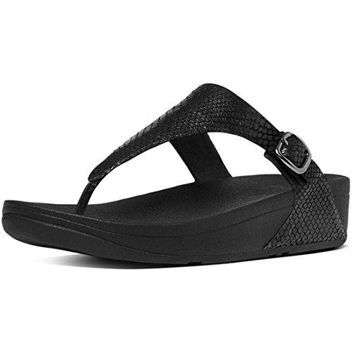 FitFlop Women's The Skinny Sandal, Black Snake, 7 M US