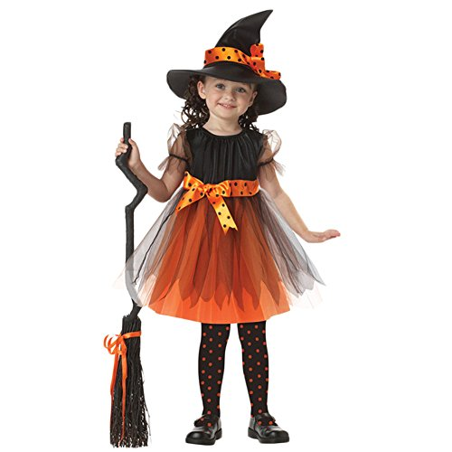 [Little Girls Witch Costume Accessory Fairy Halloween Cosplay Party Fancy Dress (S(3-4Y), Orange)] (Witch Dresses)