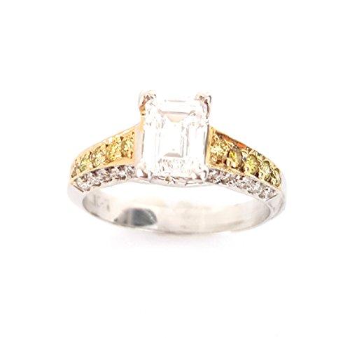 (.50 CTS Emerald Cut Semi-Mount Yellow & White Diamond 18k Engagement Wedding Ring Two-Tone)