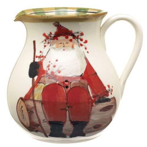 Vietri Old St. Nick Round Body Pitcher, Winter's Rest - Simple & Elegant Ceramic Vessel