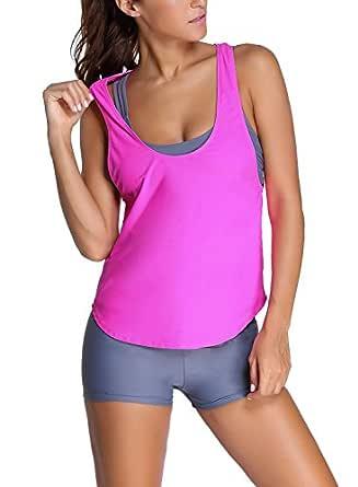 EVALESS Women 3pcs Grey Sports Bra Tankini Swimsuit with Rosy Vest Large