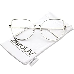 zeroUV - Women's Oversize Metal Frame Slim Arms Flat Lens Cat Eye Glasses 59mm (Shiny Silver / Clear)