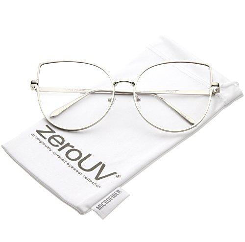 zeroUV - Women's Oversize Metal Frame Slim Arms Flat Lens Cat Eye Glasses 59mm (Shiny Silver / - Style Frames Eye Glasses Cat