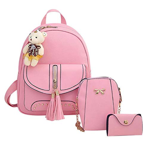 6 Lady Composite Pink Leather Bags 12 Backpack 3Pcs Gray PU q8POOwT