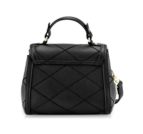 Black Purse Crossbody Fashion Leather Genuine Strap Women JeHouze Metal Handbag Adjustable Svaq7w