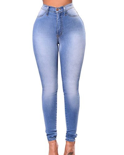 Suncaya Vaqueros Skinny Push-up Cintura Alta Elástico Jeans para Mujer Azul