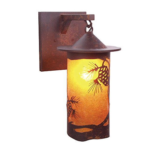 Steel Partners Lighting 2161 63 Ab Pasadena Pinecone Hanging Sconce With Amber Mica Lens  Architectural Bronze Finish