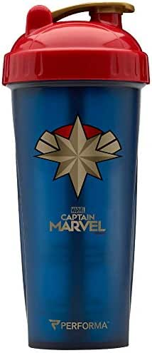Performa Marvel Shaker - Original Series, Leak Free Protein Shaker Bottle with Actionrod Mixing Technology for All Your Protein Needs! Shatter Resistant & Dishwasher Safe (Captain Marvel)(28oz)