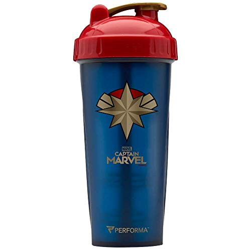 Performa Marvel Shaker - Original Series, Leak Free Protein Shaker Bottle with Actionrod Mixing Technology for All Your Protein Needs! Shatter Resistant & Dishwasher Safe (Captain Marvel) (Captain Bottle)