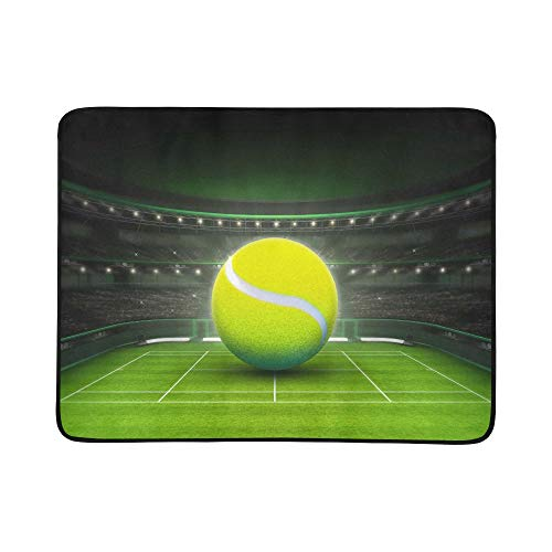 (YSWPNA Big Tennis Ball Placed On A Grass Court Sport Them Pattern Portable and Foldable Blanket Mat 60x78 Inch Handy Mat for Camping Picnic Beach Indoor Outdoor Travel)