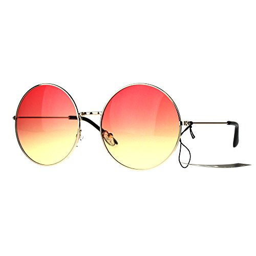 Classic Oversize Joplin Style Hippie Round Circle Lens Sunglasses Gold Red Yellow]()