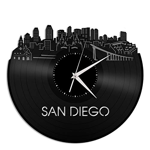 VinylShopUS - San Diego New Vinyl Wall Clock City Skyline Unique Gift Office and Bedroom | Room Decoration