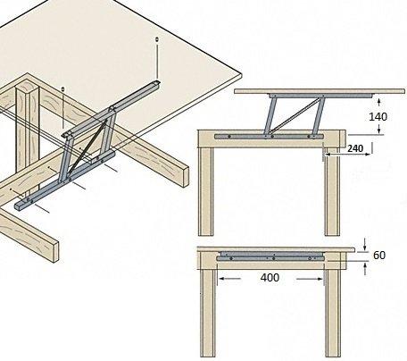 Systeme de levage pour table basse