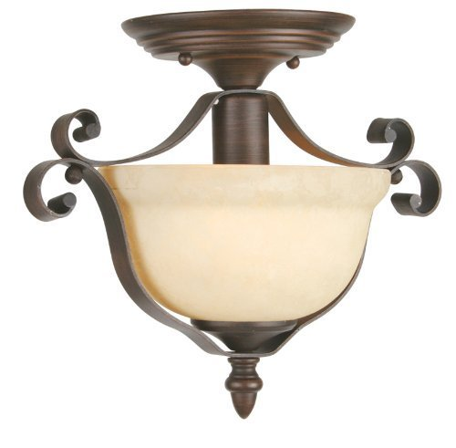 Livex Lighting 6148-58 Manchester 1 Light Imperial Bronze Flush Mount with Vintage Alabaster Glass by Livex Lighting by Livex Lighting