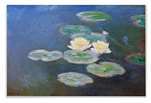 (Monet Wall Art Collection Water Lilies, Evening Effect, 1897 by Claude Monet Canvas Prints Wrapped Gallery Wall Art | Stretched and Framed Ready to Hang)