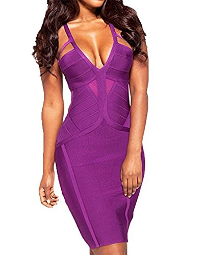 [Whoinshop Women's Rayon Deep V Neck Backless Bodycon Bandage Mini Party Dress Purple XL] (Sexy Purple Dress)