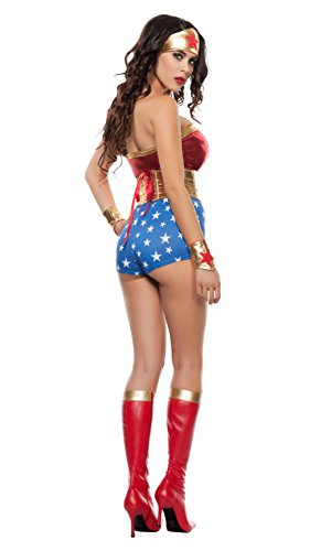 Starline Women's Lady Power Sexy Cosplay 4 Piece Costume Set, Red/Gold, Medium