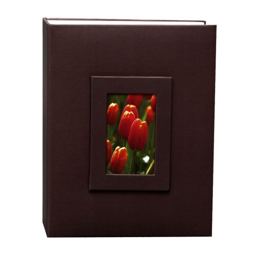 Kvd Kleer-Vu Deluxe Albums Inc. Floramma Collection, Holds 200 4x6 Photos, 2 Per Page, Window Frame Cover,Brown