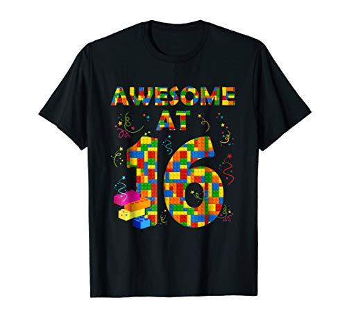 Birthday Shirt For Boys Age 16 Sixteen Blocks Bricks Theme