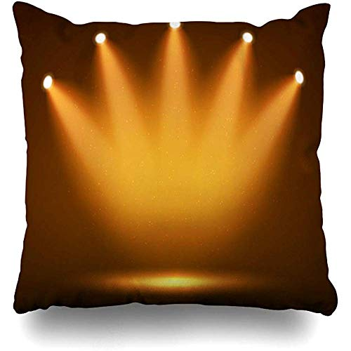 Throw Pillow Cover Square Case 18x18 Inch Clubbing Yellow Light Spotlight On Stage Your Abstract Orange Fame Hall Celebration Dark Reveal Zippered Cushion Home Decor Pillowcase