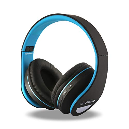 FX-Viktaria Over Ear Headphones, Headset with Microphone, Foldable and Lightweight, Support TF Card, USB Charging Headset, MP3 Mode and FM Radio for Cellphones, Laptop (BlackBlue)