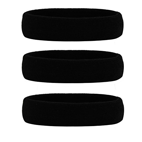 Hanerdun Sports Sweatbands Headbands Breathable Cotton Terry Cloth Sweat Head Bands For Men And Women Running Work out Yoga Exercise Tennis, Black(3 pieces), One Size