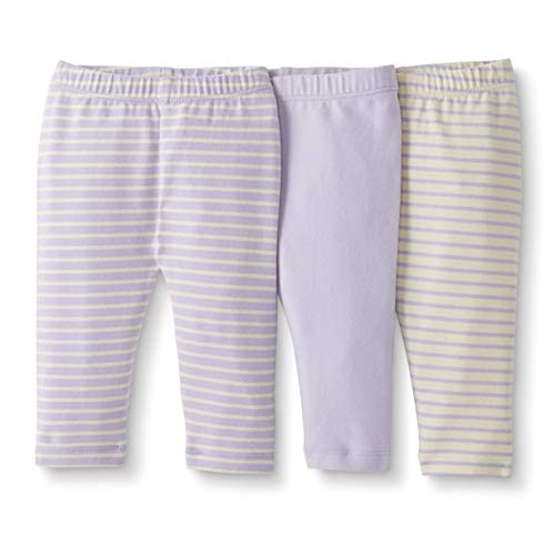 6-12 months Gray Moon and Back by Hanna Andersson Baby//Toddler Girls 3-Pack Organic Cotton Legging