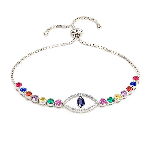COTO Sterling Silver Adjustable Women Bracelets Round Cut Cubic Zirconia Paved Slider Evil Eye Tennis Bracelet Jewelry for Women (Adjustable Sliders)
