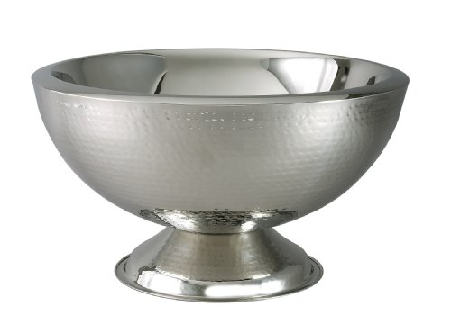 Elegance Hammered 3-Gallon Stainless Steel Doublewall Punch Bowl by Elegance