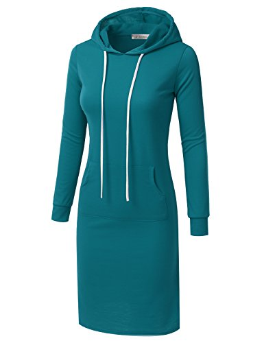 Plus Doublju USA in for Hoodie Size Dress Awohol070 Midi with Women teal Made 6wYq6xZ