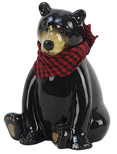 Young's Black Bear Coin Bank With Red Plaid Scarf 17730 6 Inches x 4.75 Inches x 7 Inches -
