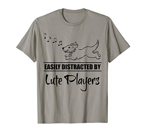 Running Dog Easily Distracted by Lute Players Fun Whimsical T-Shirt