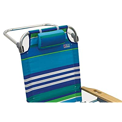 Rio Brands Beach Hi-Boy Folding 5 Position Lay Flat Beach Chair - More Than A Blue Stripe (ASC612-1700-1) : Sports & Outdoors
