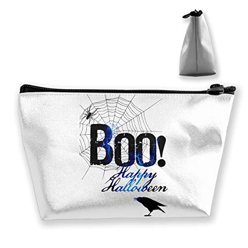 (Double Y Boo Happy Halloween Free Printable Women Cosmetic Bags Portable Pouch Trapezoidal Storage Bag Travel Bag with)