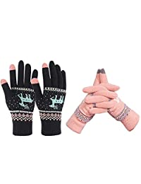 W-RHYME Women Knitted Gloves Winter Warm Touch Screen Mittens 2 Pairs (Pattern 2)
