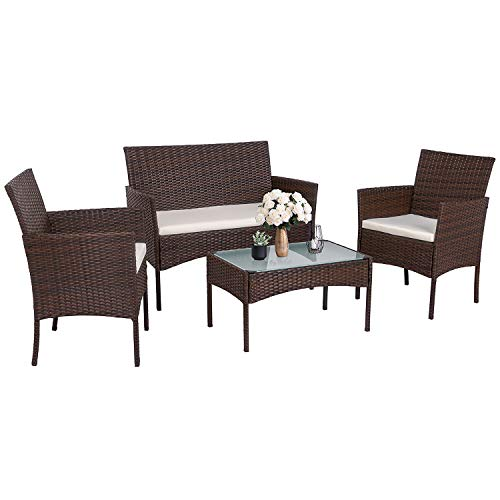 Walsunny 4 Pieces Outdoor Patio Furniture Sets Rattan Chair Brown Wicker Set,Outdoor Indoor Use Backyard Porch Garden Poolside Balcony Furniture (Medium) (Rattan Furniture Set Patio)