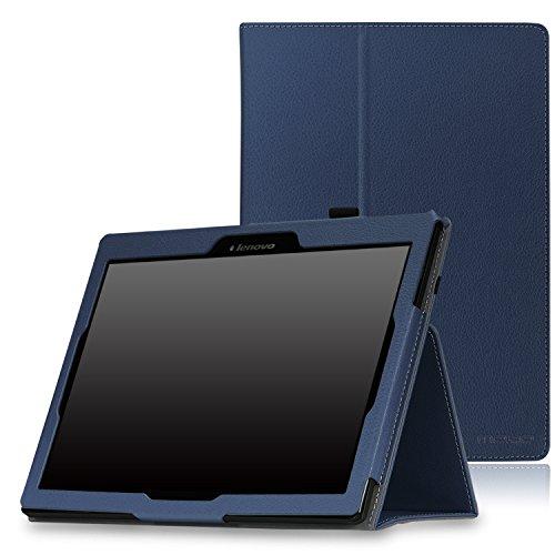 MoKo Tab 2 A10-70 Hülle - Kunstleder Ständer Schutzhülle Smart Cover mit Auto Schlaf / Wach Funktion und Stift-Schleife für Lenovo Tab 2 A10-70 / A10-30(TB2-X30F), Tab 3 10,Marineblau