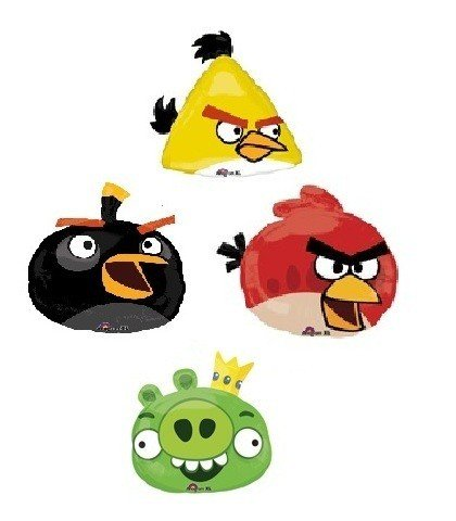 ANGRY BIRDS black red yellow balloons decorations BIRTHDAY
