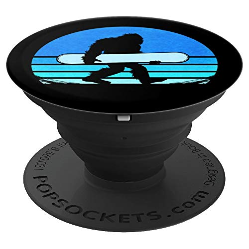 Retro Snowboard Yeti, Vintage Snowman Snowboarding - PopSockets Grip and Stand for Phones and Tablets