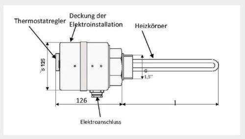 3,3 kW Elektroheizstab Solar Pufferspeicher Heizpatrone 400V