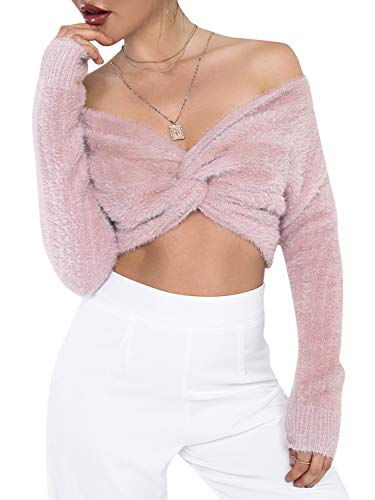 Simplee Women's Sexy Off Shoulder CRIS Cross Crop Top V Neck Long Sleeve Pullover Sweater ()