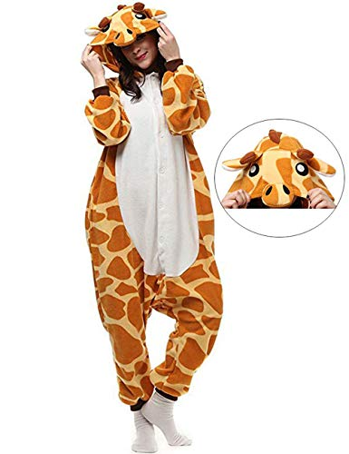 Giraffe Onesies Adult Pajamas One Piece Cosplay Halloween Costume Animal Sleepwear for Women Men -
