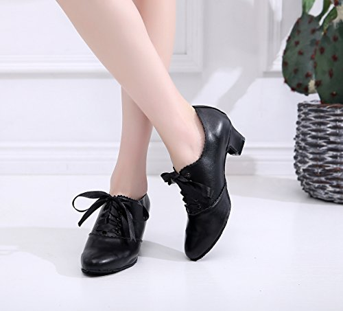 Minitoo Ladies Ruched Lace-up Chunky Low Heel Synthetic Ballroom Latin Dance Shoes Formal Dress Pumps Black-5 Cm Heel Rw2bd27t2