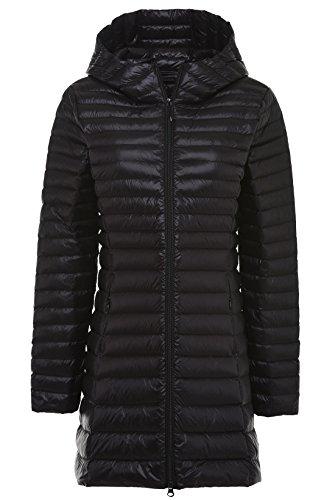 Chouyatou Women's Hooded Full-Zipper Lightweight Packable Down Anoraks Jacket Black