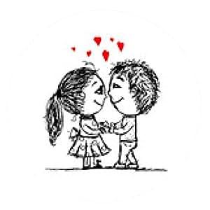 alfombrilla de ratón Pareja en el amor juntos, boceto de San Valentín para su diseño - ronda - 20cm