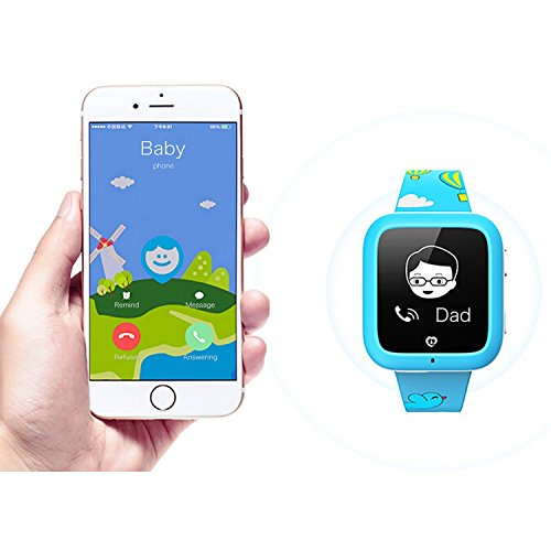 Misafes Smart Kid Watcher GPS Tracker digitale Uhr Security Monitor Mini Babyphone für iPhone 6 6 s blau Samsung s7 s6 HTC LG Google Nexus
