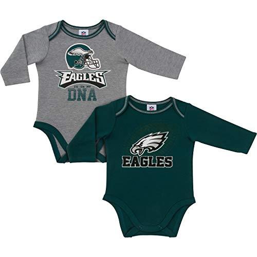 Gerber Childrenswear NFL Philadelphia Eagles Boys 20182 Pack Long Sleeve Bodysuit, Green, 3-6 Months