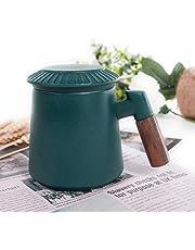 Sandalwood handle Tea Mug,Pottery Tea Mug, with Infuser and Lid ,13.5 oz.
