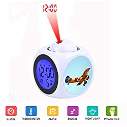 LCD Digital LED Display Projection Alarm Clock Talking with Voice Thermometer Function Desktop Airplane Flying Against Sky